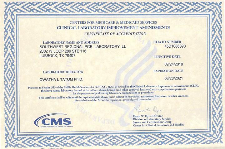 CLIA Certificate 2019-2021