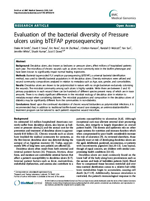 Evaluation of the bacterial diversity of Pressure ulcers using b